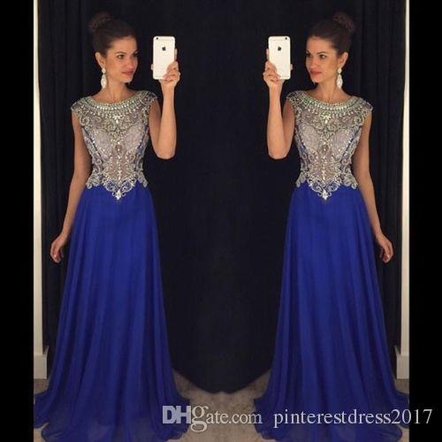 Beautiful O Neck Crystal Beaded Champagne Aqua Prom Dresses 2017 Sheer Sequins Keyhole Back Chiffon Long Evening Party Gowns