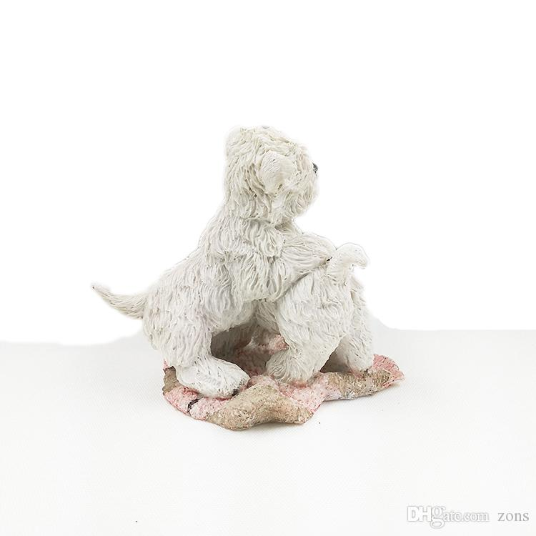"""Two Cute West Highland White Terrier Siting on Carpet 4.6"""" Hand Carved Resin Material Dog Figure for Table Decor"""