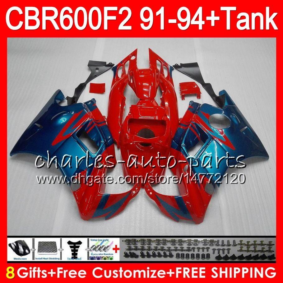gloss red 8 Gifts For HONDA CBR600F2 91 92 93 94 CBR600RR FS 1HM23 CBR 600F2 600 F2 CBR600 F2 1991 1992 1993 1994 red blue Fairing