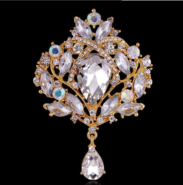큰 크리스탈 물방울 최고 품질 실버 톤 드롭 브로치 핀 절묘한 Diamante 웨딩 쥬얼리 브 로치 대형 크리스탈 여성 신부 브로치