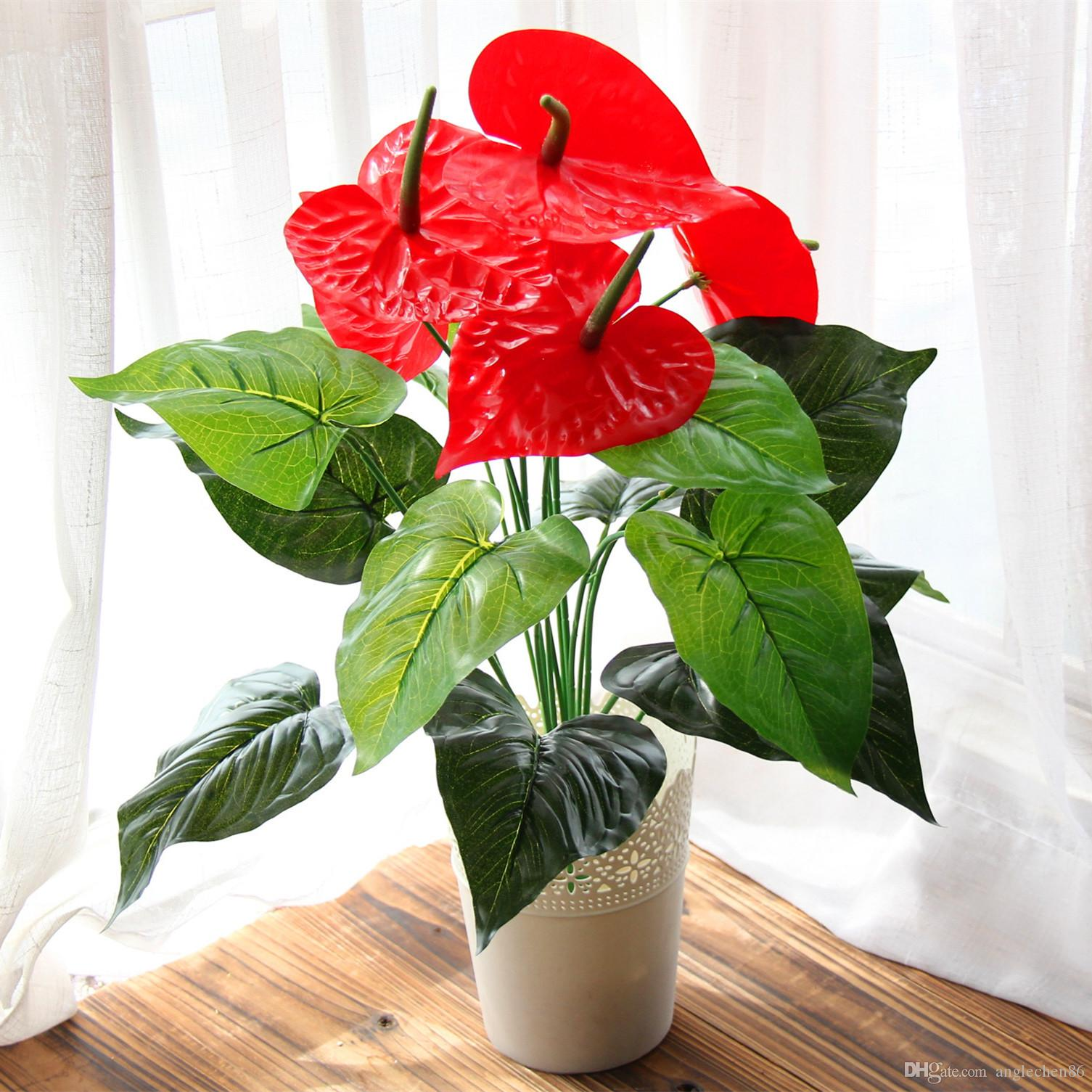 Best Great 18 Heads Artificial Flower Small Potted Plant Silk Suit