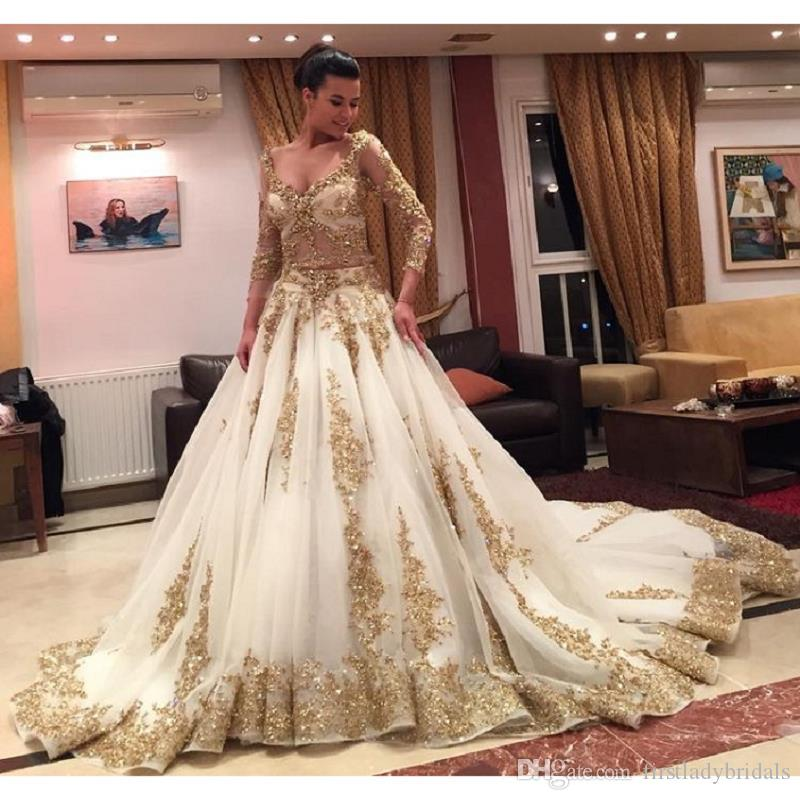 Gold Gowns Wedding: Gold Wedding Dresses Ball Gown Long Sleeve Appliques