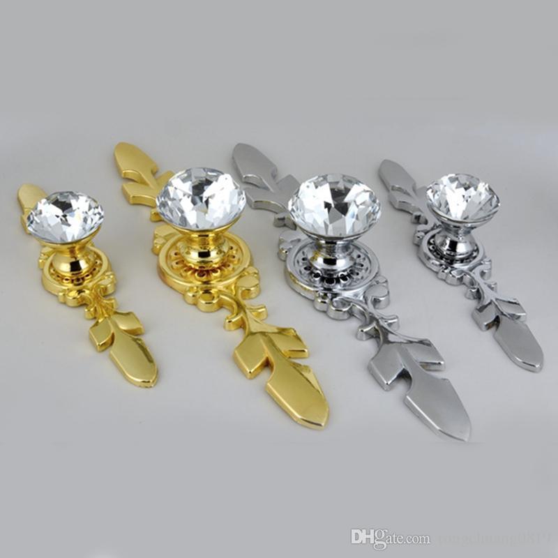 Moderna Simple Fashion Pull Clear Glass Crystal Cassetto in cristallo TV Mobile manopole Tira in argento Gold Cucina Cucina Auffatura Maniglia
