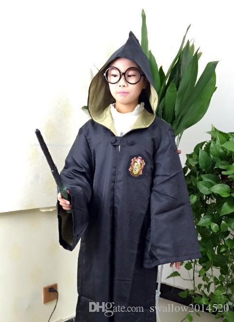 Frete Grátis Harry Potter Cosplay Hogwarts Robe Manto Grifinória / Sonserina / Hufflepuff / Ravenclaw 4 Casa 10 Tamanhos Pode Ser Escolhido