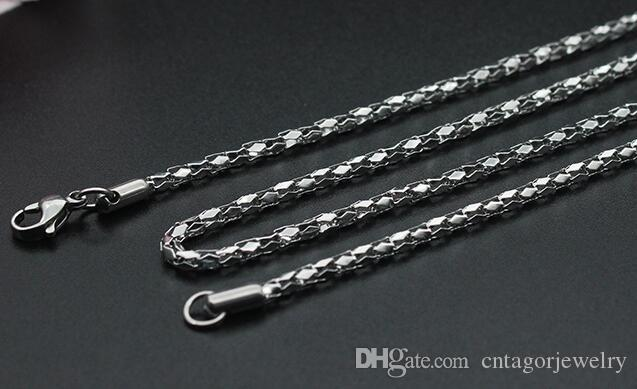 "Diameter 2mm/2.5mm/3mm/3.5mm/4mm 316L Stainless Steel Diamond Mirror Net Chain Necklace 18""-22"" inches"