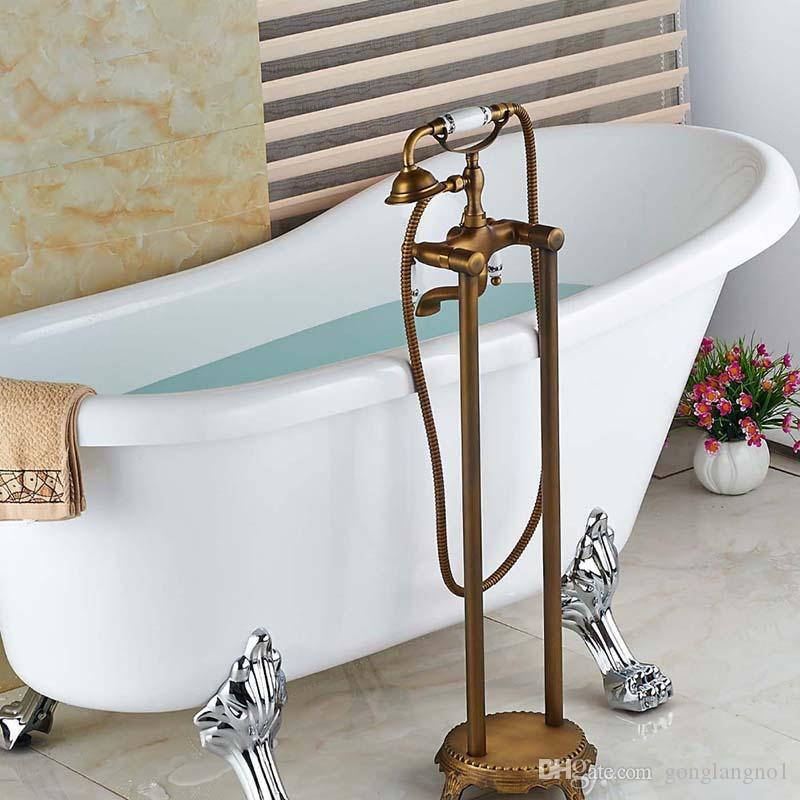 Роскошный старинный латунный напольный смеситель для ванной с двойными ручками
