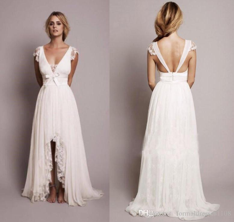 Discount 2017 Beach Hi Low Short Wedding Dresses With Lace Western ...