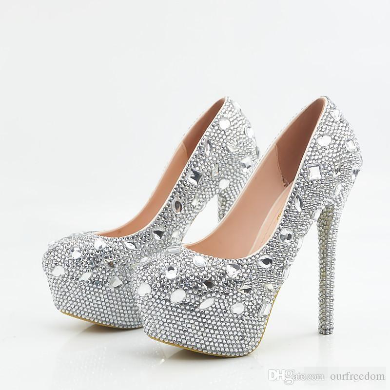 compre glitter boda zapatos 2017 cristales bolas bombas tacones