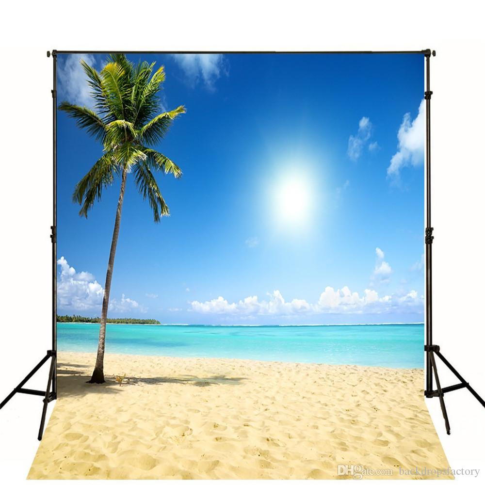 10x10ft Tropical Beach Themed Backdrop Vinyl Blue Sky White Clouds Nature Scenery Summer Holiday Wedding Photography Studio Backgrounds Backdrops