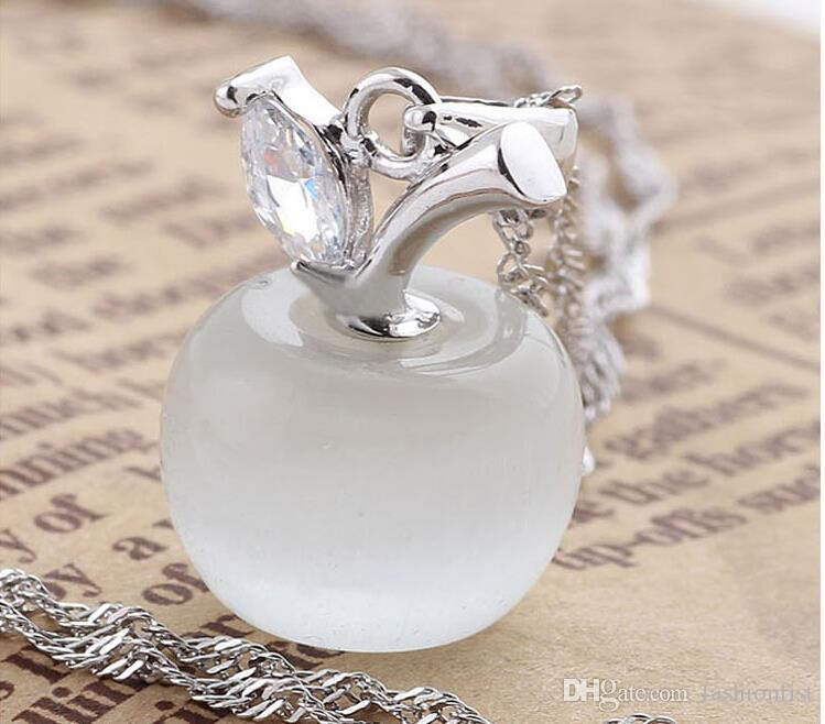 Big Promotion Women Crystal Pendant Necklace Jewelry Fashion 925 sterling silver chain Crystal apple opal Pendant necklaces Jewelry