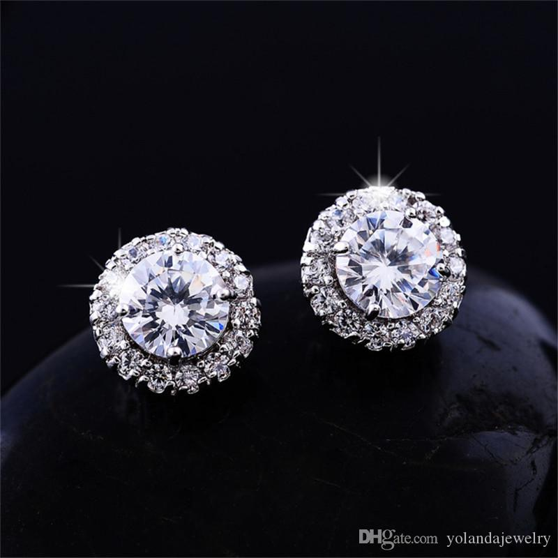 جديد وصول أفضل الأصدقاء 18 كيلو الذهب الأبيض مطلي الخواتم كبير الماس أقراط للنساء أقراط الزركون الأبيض
