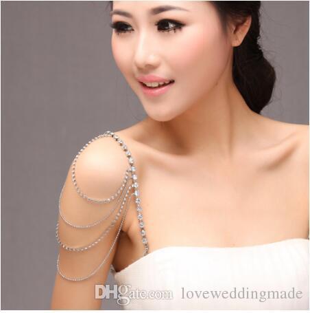 Cheapest Wedding Dress Shoulder Necklace 2017 Crystal Wedding Party Bridal Jewelry Bridal Crystal Dress trap Tassel