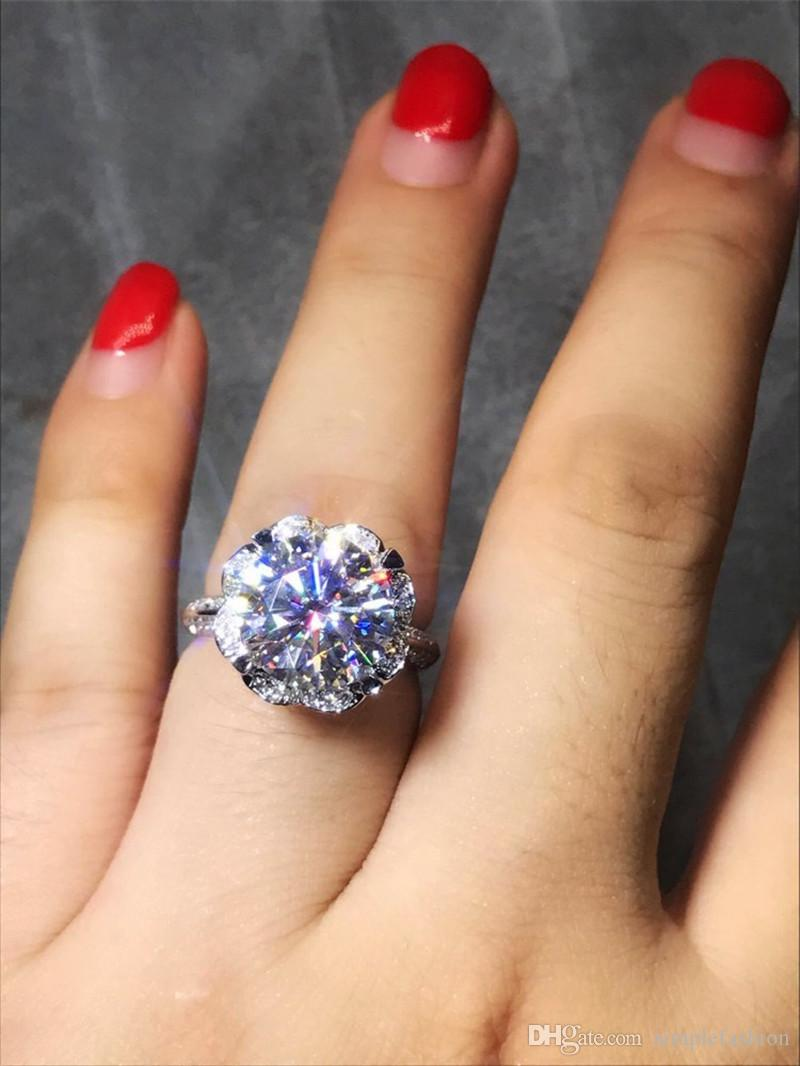 Kadınların Gelin Takı Hediye için Vecalon Kalp Çiçek 925 Gümüş yüzük 5A Zirkon Taşlı Kristal Nişan düğün Bant yüzük
