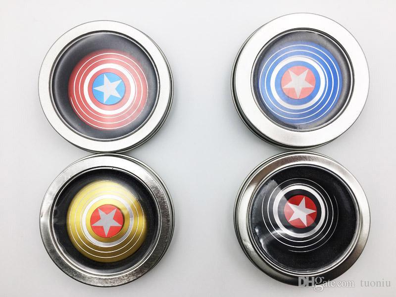 2017 Hot Super hero Fidget spinner Fidget spinner Captain America Shield Iron Spider man Perfect Stress Reduce Metal hand spinners Toy