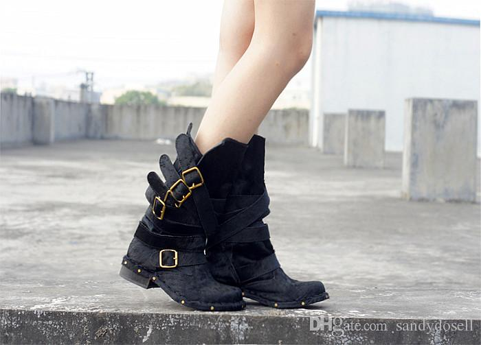 Lovely Style High Quality Horsehair Keep Warm Women Boots Metal Buckle Decoration Casual Slip-On Mid-Calf Boots 34-40
