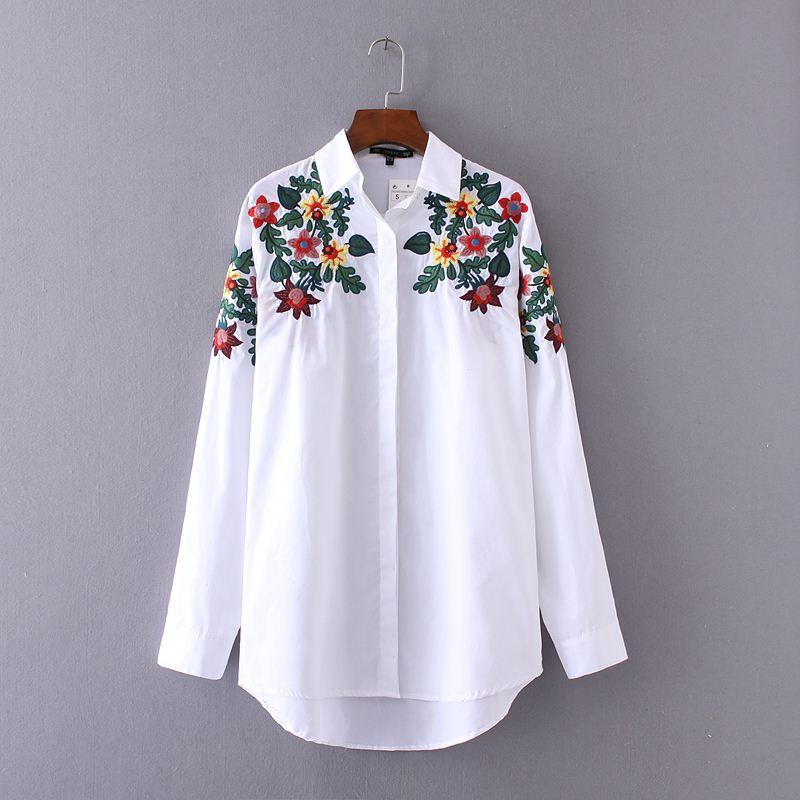 2017 spring women floral embroidery shoulders white loose long 2017 spring women floral embroidery shoulders white loose long shirts elegant cotton oversized blouse lady casual business shirt high quality shirt folder mightylinksfo