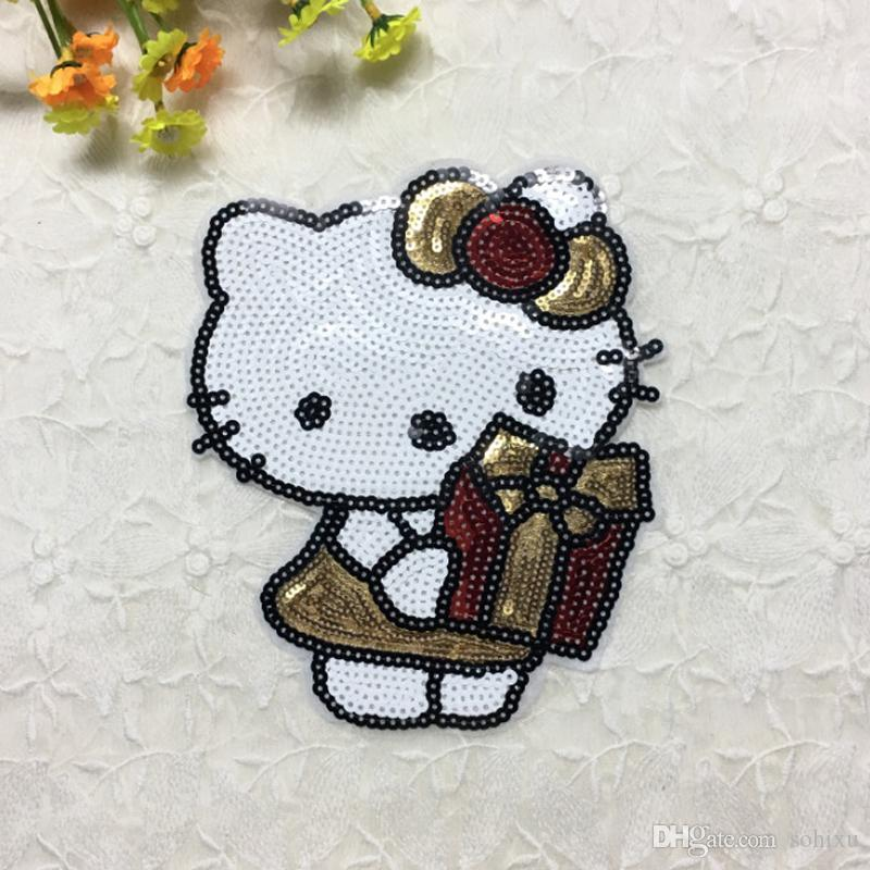 d2472b22cf73b 20pcs Hello Kitty Patch For Clothing Sticker Sequin Embroidered Jacket  Patches Badge Jeans Dress Fabric Patchwork Kids Applique Cloth Decor