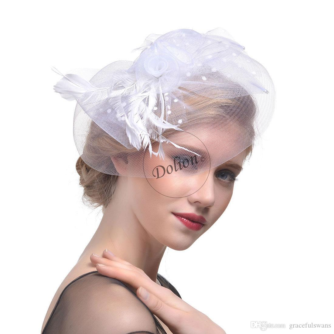 Bridal Hats Feathers Elegant Hats for Women Handmade Flax Party Hair Accessories for Ladies