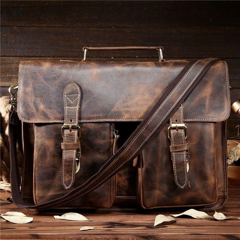 e7718771c8 Wholesale NEWEEKEND Retro Cowhide Leather Crazy Horse 15.6 Inch Crossbody  Handbag Laptop Briefcase Bag For Male Man Men Portfolio 1061 Briefcase  Backpack ...