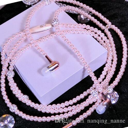 Phone Mp3 Headphone In Ear Diamond Pearl Beads Couple Wire Necklace Earphones with Mic Fashional Gift Girls Earbuds Headset Christmas Gifts