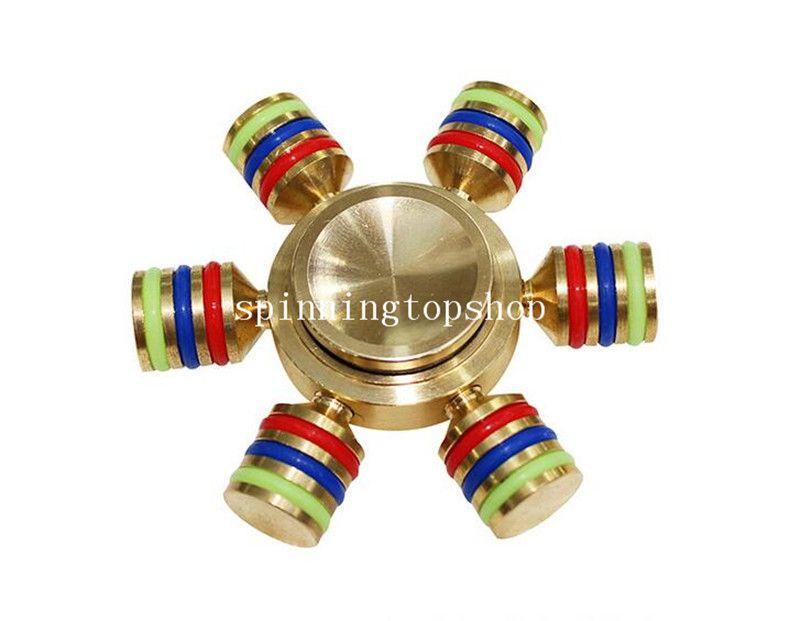Hexagon Hand Spinner Six Angle Aluminium Fingertips Spiral Fingers Gyro Torqbar Fidget With 6 Heads Hand Spinner With Retail Box
