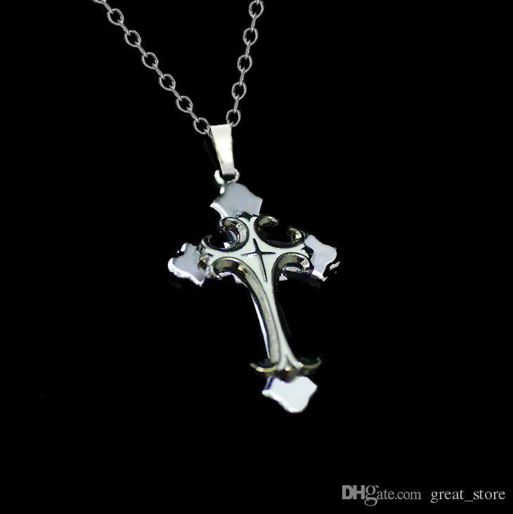 Brand new Christian Plating Tropfen Kreuz Anhänger Halskette kurzen Abschnitt WFN020 mit Kette mischen Sie 20 Stück viel bestellen