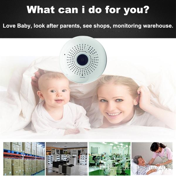Wifi لمبة IP كاميرا 360 درجة كامل HD 1080P VR كاميرا بانورامية فيش مراقبة لاسلكية أمن الوطن كاميرا CCTV مربية كام الأبيض
