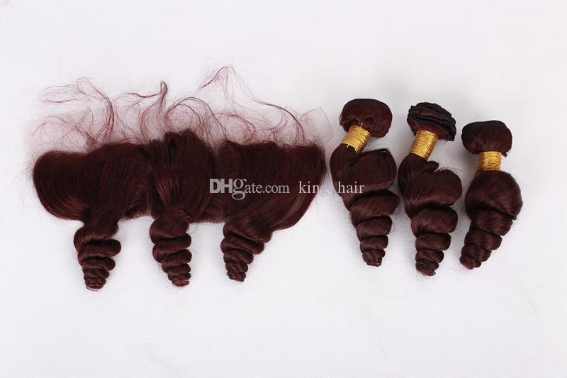 Fasci di capelli sciolti onda rosso vino con pizzo frontale 99J sciolto 13x4 orecchio all'orecchio frontale con trama di capelli vergini