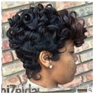 Xiu Zhi Mei 최고 품질의 짧은 컷된 kinky 곱슬 가발 시뮬레이션 인간의 머리 전체 가발 짧은 밥 곱슬 머리 가발 흑인 여성용