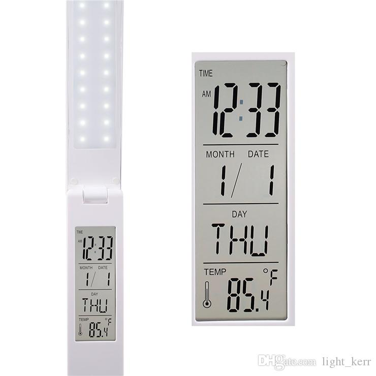LED Desk Lamp Eye Care Portable USB Rechargeable Touch Sensitive Alarm/Clock/Calendar/Temperature Display Hang on Wall
