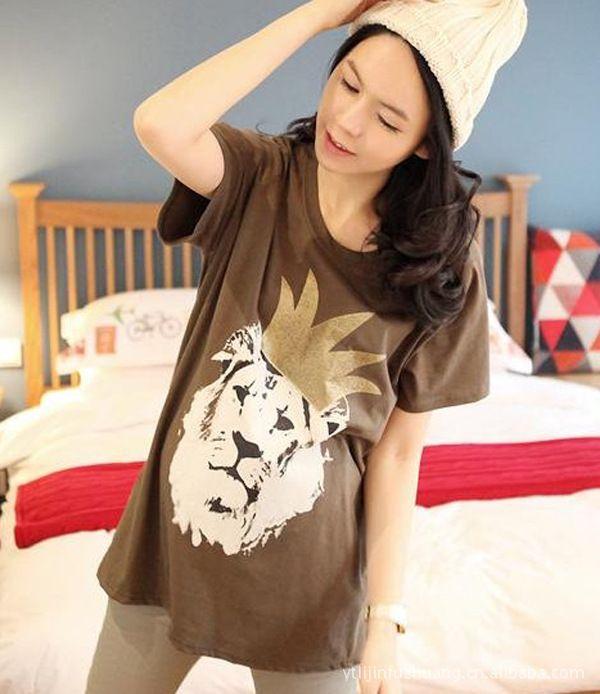 الوافدون الجدد الحوامل الأمومة تي شيرت لوازم القميص القطن الصيف أنماط الطباعة عارضة الشحن المجاني