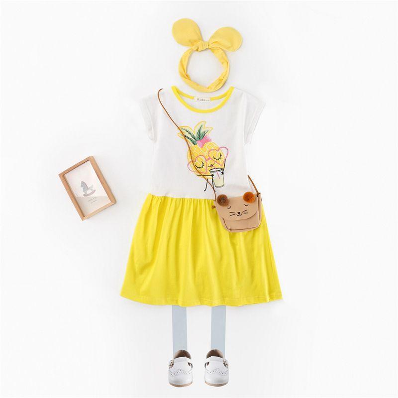 c025bd900 2019 Girls Dresses Children Girls Holiday Cotton Cute Pineapple ...