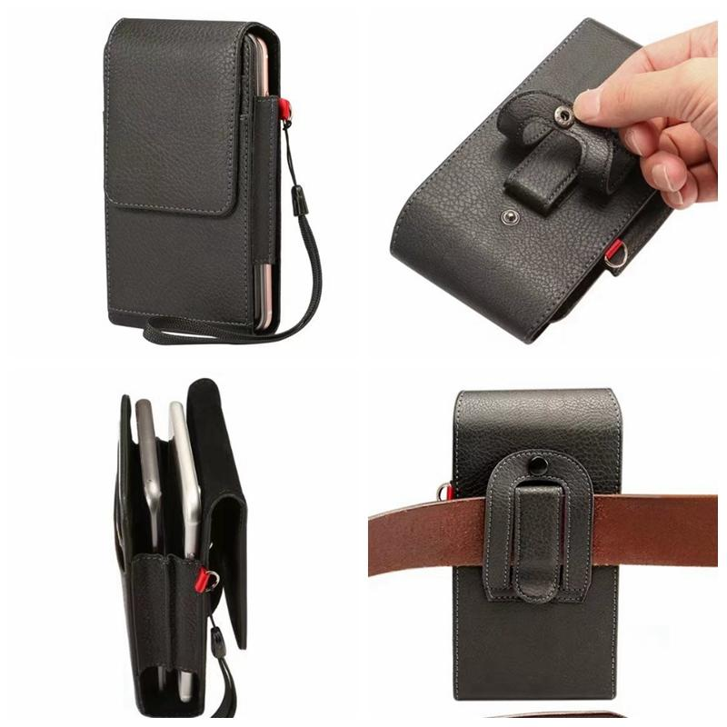 Vertical Hip Holster Leather Case For Iphone 7 6 6S 5S SE Galaxy S8/Plus/S7/Edge/Sony Z5 XA LG G6 G5 Flip Buckle Clip Belt PU Pouch Strap
