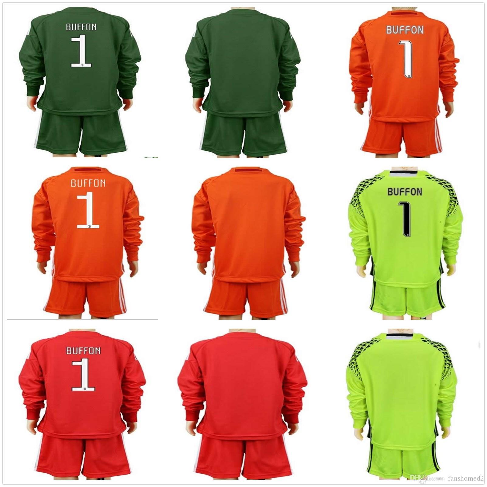 2017 2018 youth long buffon goalkeeper jerseys kids boys gk set 1 buffon 23 szczesny kid children kits buffon goalkeeper soccer jersey maillot de foot