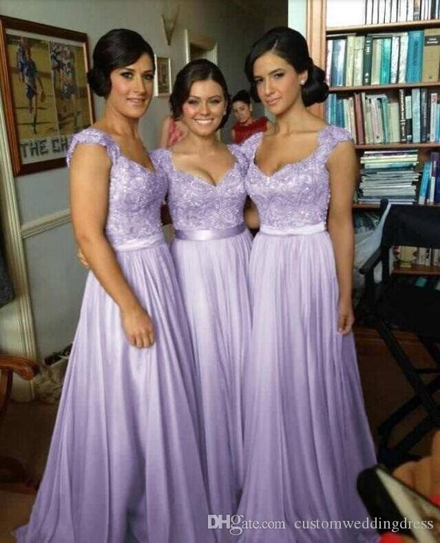 Women Sweetheart Lace Long Chiffon Royal Blue Purple Bridesmaid Dresses Junior Wedding Party Dress BD002