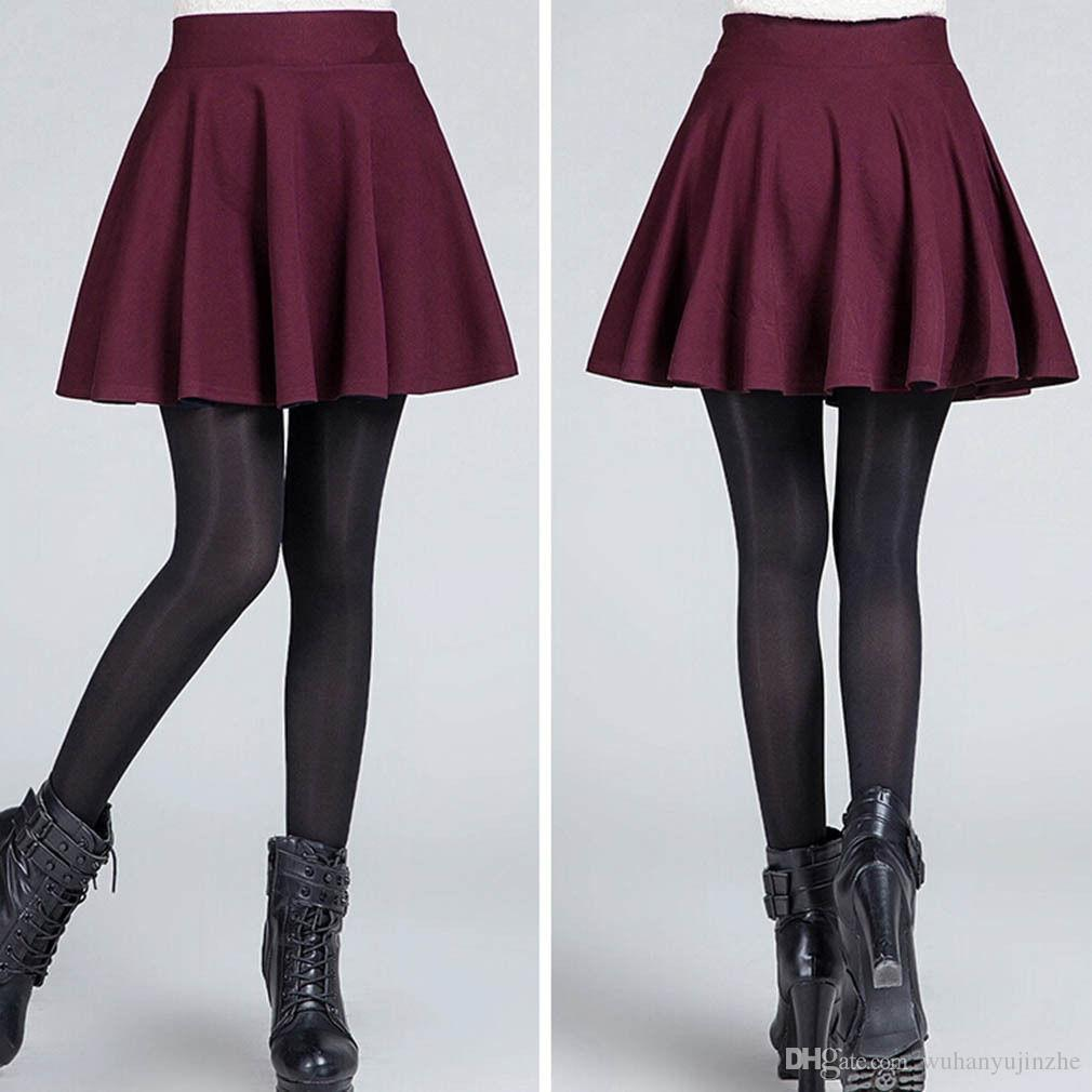 Donne libere di trasporto Cotone Vintage Stretch a vita alta Plain Skater svasato gonna a pieghe Dress i Scegli CL155