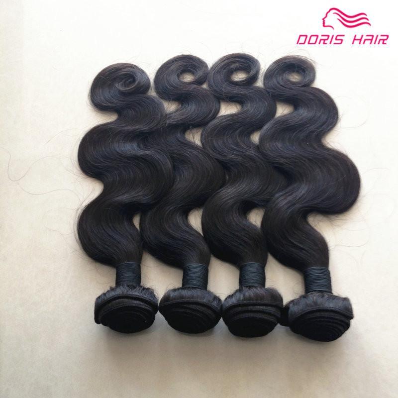 оптом в розницу Индийский Девы тело волна человеческих волос 4 шт. много волос ткать естественный цвет бесплатная доставка DHL