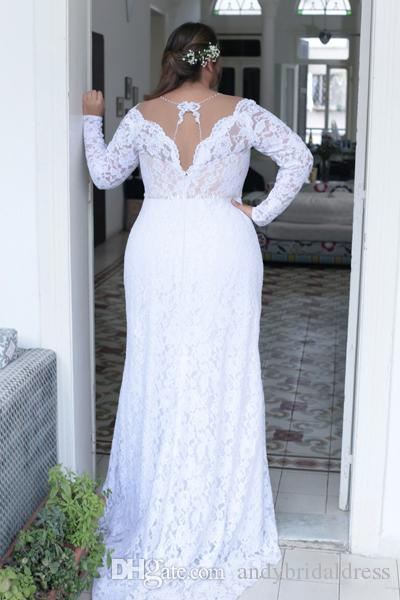 Beautiful Sexy Deep V neck White Lace Plus Size Wedding Dress Long Sleeves Unique Back Sheath Plus Size Dress For Bride 2017 ADPW004