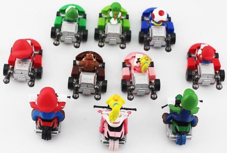 ação collectible figuras Super Mario Bros Kart Pull Voltar Car figura Toy / set brinquedos Mario Brother retração Carros Dolls Super Mario Bros