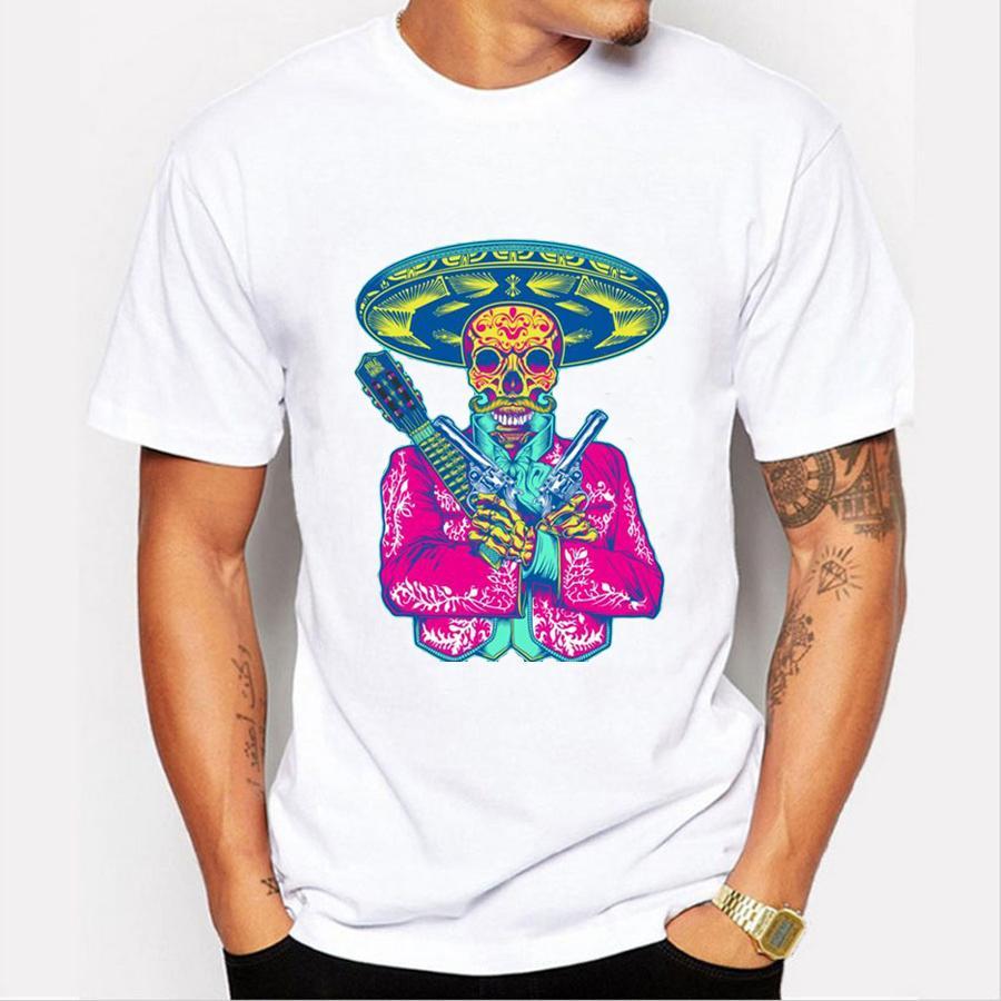 Compre Camiseta Con Estampado De Mariachi De México Hombre Camiseta Con  Estampado De Calavera Con Gorra De Summer Summer Camiseta Con Estampado De  Harajuku ... cf16cb8d399