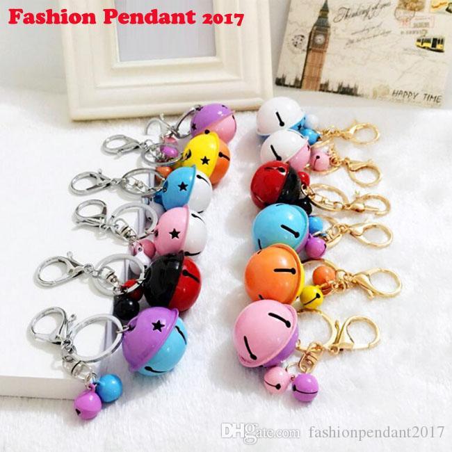 2017 New design Enamel Keychain Car Bells Cute pink Purple Candy color Key Chain Rings For Handbag cute gift chaveiro dhl shipping