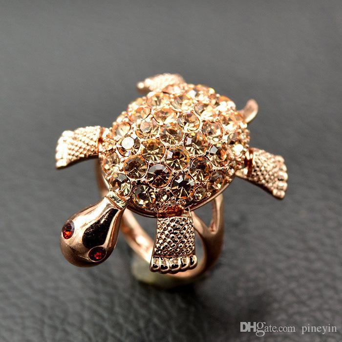 Nette Schildkröten-Schildkröte voll des Kristallring-antiken Goldes überzogen für Frauensommer-Art und Weiseschmucksachen ER715