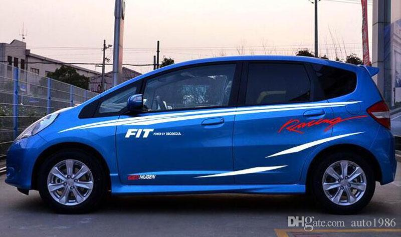 Un set auto voiture camion fit power racing sport Styling Vinyle Car Body Sticker taille capuche Line Decals