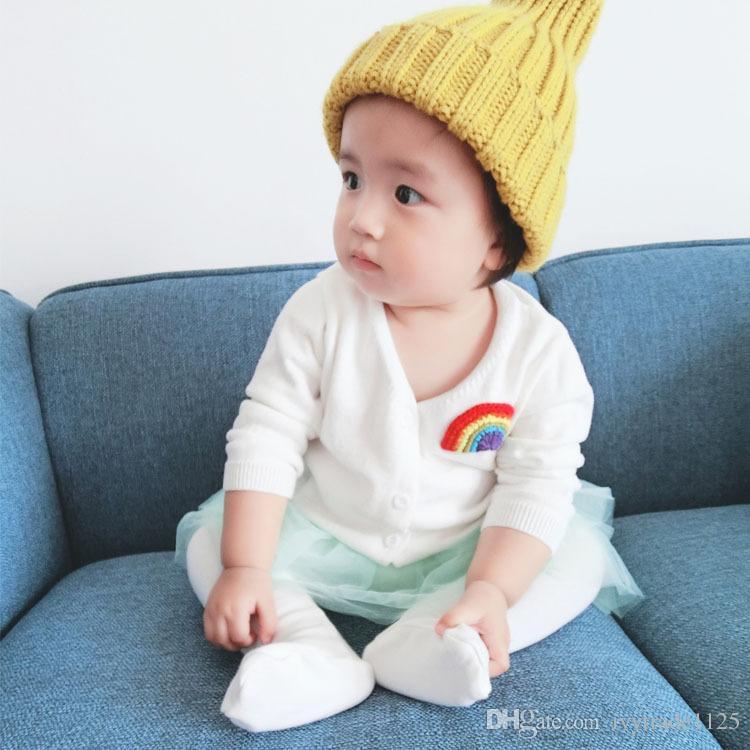 Ins Korean cute style baby girl boy cartoon Rainbow print v-neck long sleeve knitting T shirt 100% cotton kids fall clothing coat