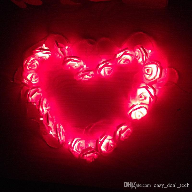 Kingko 2.2 M 20LED Simulação De Flores De Rosas Luzes Da Corda Cadeias Decoração Cadeia cadeia de iluminação férias ZJ0454