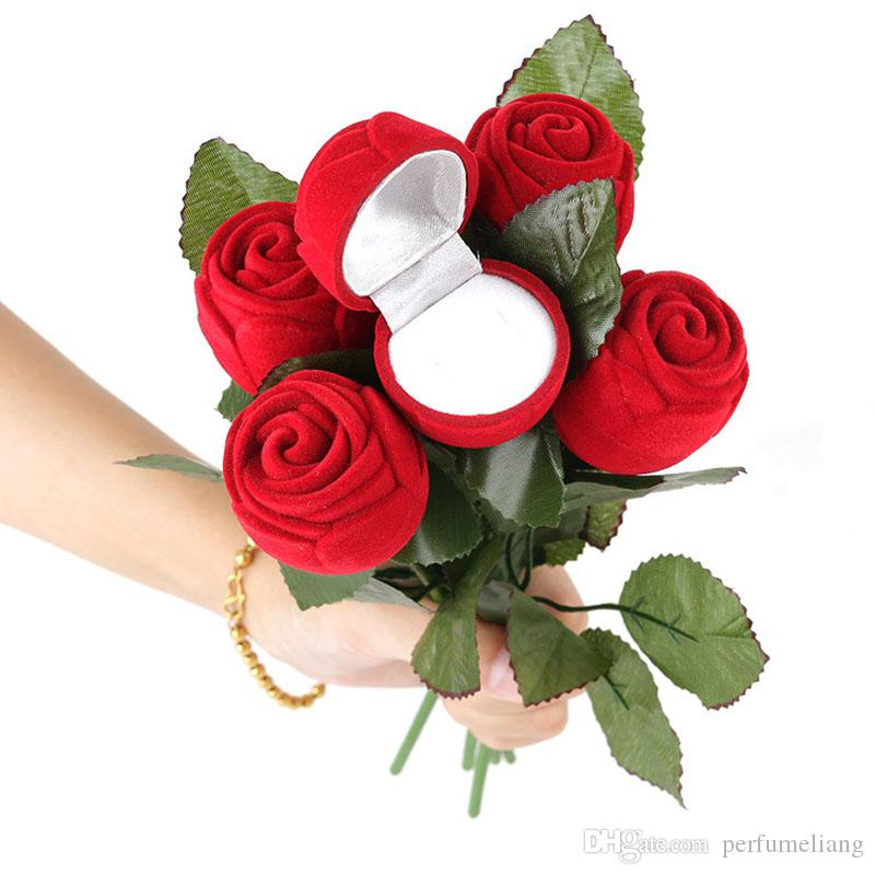 Novelty Artifical Red Rose Engagement Decor Wedding Ring Box Earrings Pendants Jewelry Case Free Shipping ZA3776