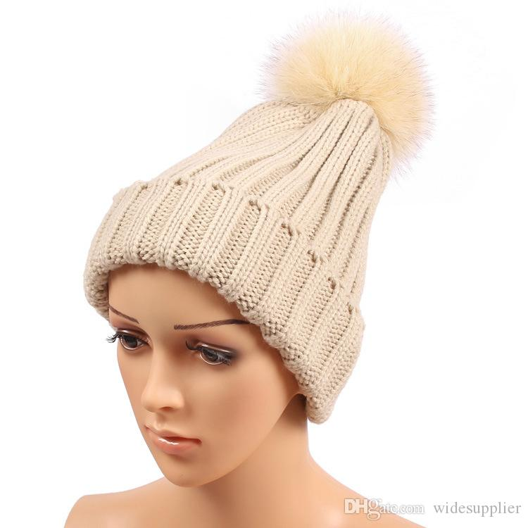 Classic Winter Beanie Tight Knitted Big Corful Fox Fur Pom Poms Hat Women Cap Winter Beanie Headgear Headdress Head Warmer Top Quality