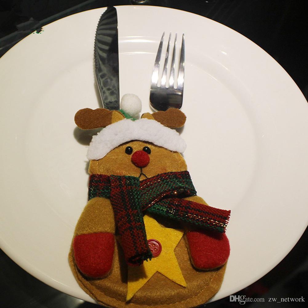 Sacchetti di calza di Natale Tavolo da pranzo Coltello Forchetta Supporto navidad Babbo Natale Decorazione natalizia Articoli feste Spedizione GRATUITA