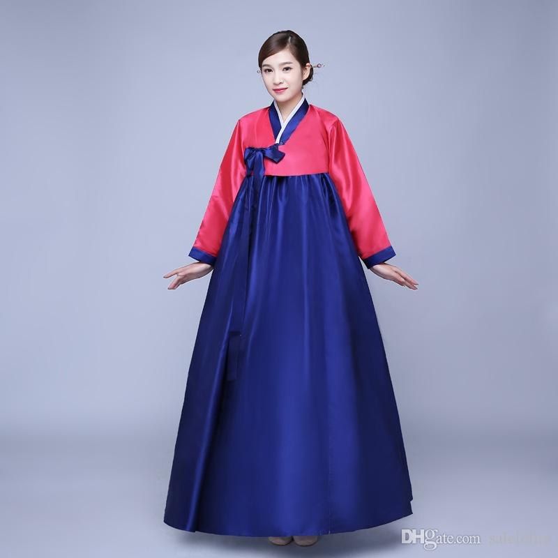3b67658933 Cheap Red And Blue Traditional Korean Hanbok Dresses Women Hanbok Clothing  Dance Dress Costume Girl Halloween Costume Halloween Costume Party From ...