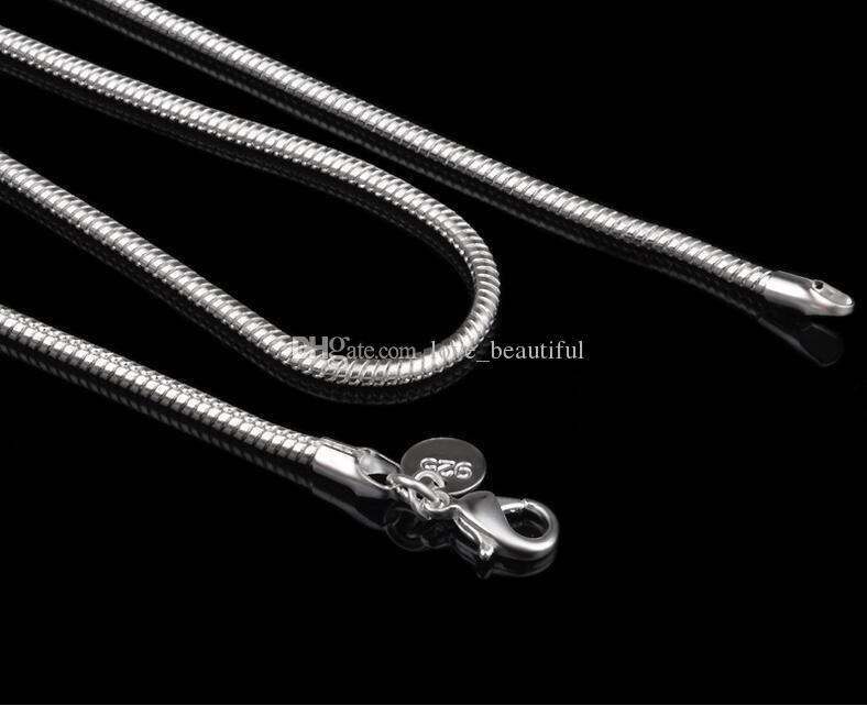 "2017 hot sells Man woman 925 sterling Silver 2.4MM snake Chain Necklace 16""/18""/20""/22""/24"" for Pendants"